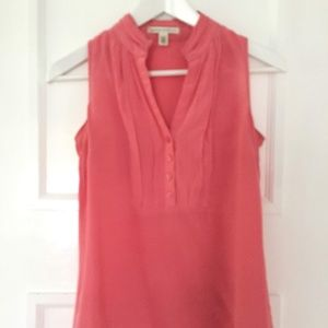 Silk salmon sleeveless blouse